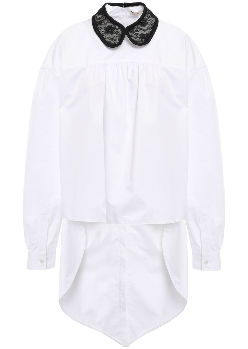 Christopher Kane Woman Asymmetric Lace-trimmed Cotton-poplin Shirt White