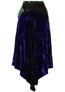 Christopher Kane Woman Asymmetric Two-tone Crushed-velvet Midi Skirt Indigo