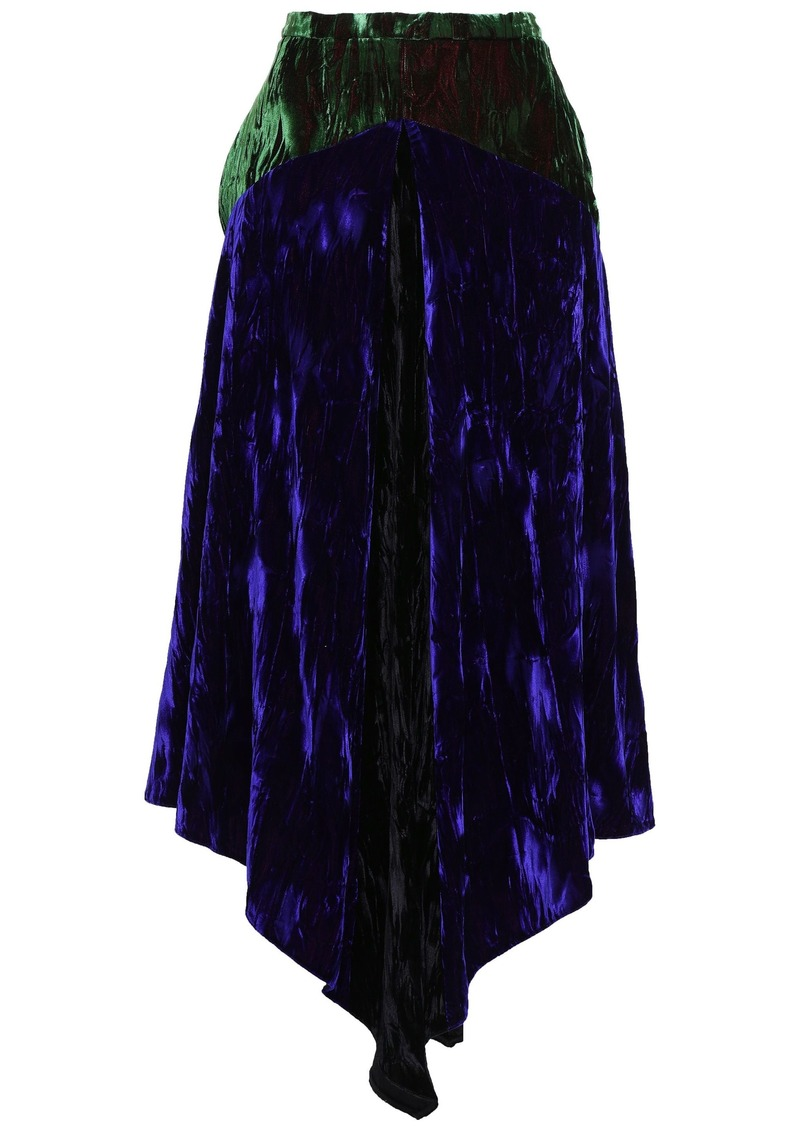 Christopher Kane Woman Asymmetric Two-tone Crushed-velvet Midi Skirt Indigo