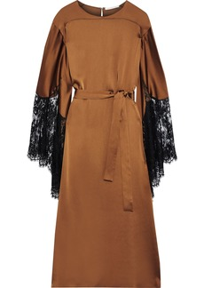 Christopher Kane Woman Belted Lace-trimmed Satin Midi Dress Copper