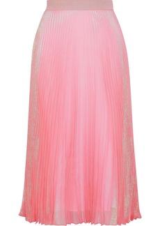 Christopher Kane Woman Brillo Pad Pleated Silk-blend Lamé Midi Skirt Pink