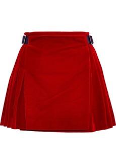 Christopher Kane Woman Buckled Leather-trimmed Velvet Mini Skirt Crimson