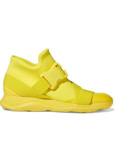 Christopher Kane Woman Buckled Neoprene High-top Sneakers Yellow