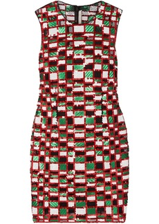 Christopher Kane Woman Checked Sequined Tulle Mini Dress Multicolor
