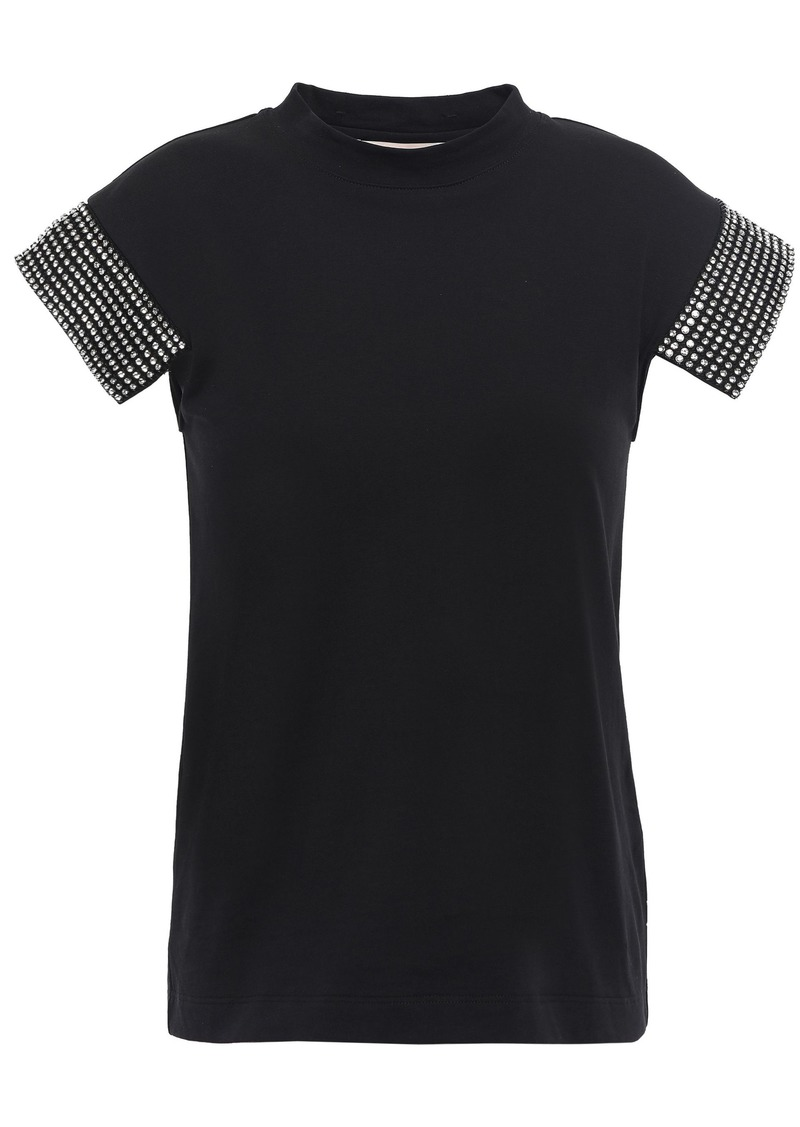 Christopher Kane Woman Crystal-embellished Cotton-jersey Top Black