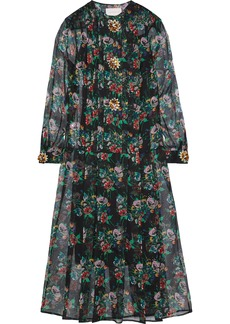 Christopher Kane Woman Crystal-embellished Floral-print Silk-gauze Midi Dress Black