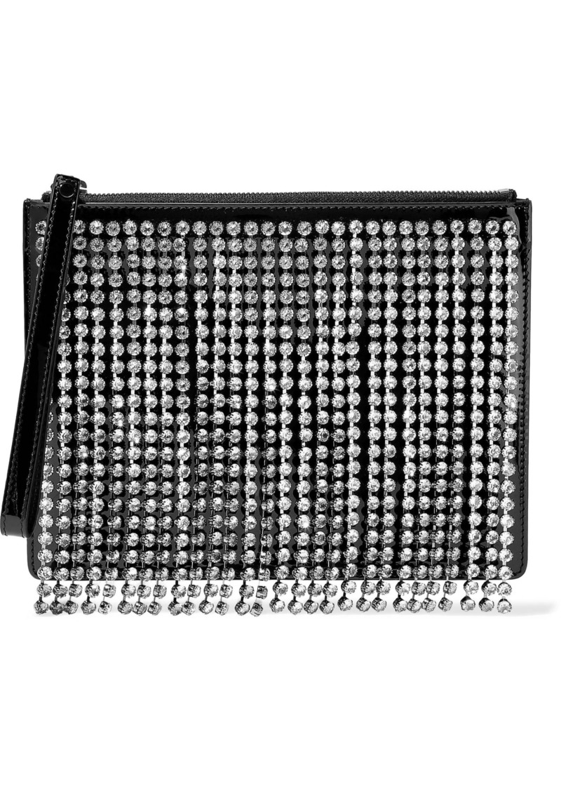 Christopher Kane Woman Crystal-embellished Fringed Patent-leather Clutch Black