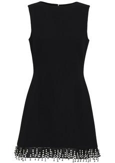 Christopher Kane Woman Crystal-embellished Leather-trimmed Wool-crepe Mini Dress Black