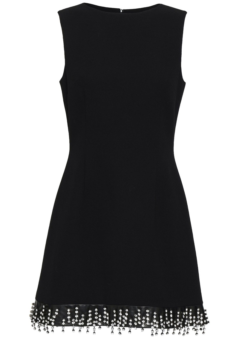 Christopher Kane Woman Crystal-embellished Leather-trimmed Wool-crepe Mini Dress Black