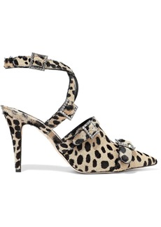 Christopher Kane Woman Crystal-embellished Leopard-print Calf Hair Pumps Animal Print