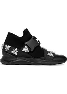 Christopher Kane Woman Crystal-embellished Neoprene Sneakers Black