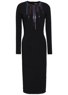 Christopher Kane Woman Crystal-embellished Ribbed-knit Dress Black