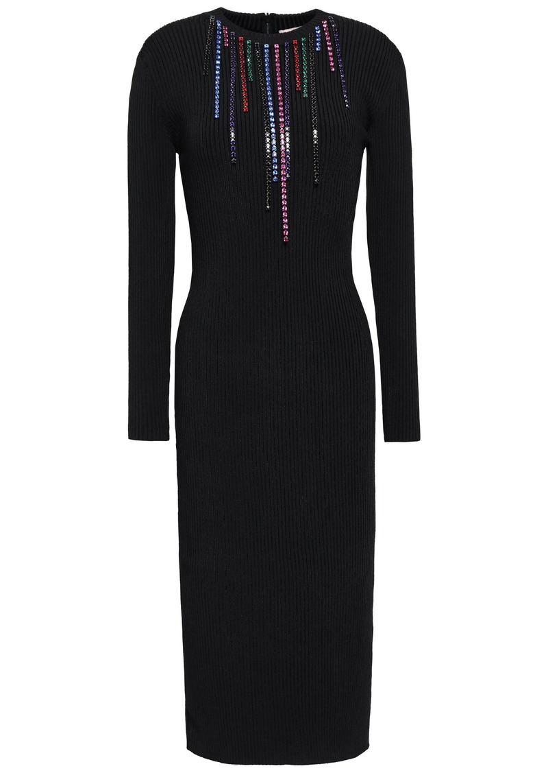 Christopher Kane Woman Crystal-embellished Ribbed-knit Dress Black