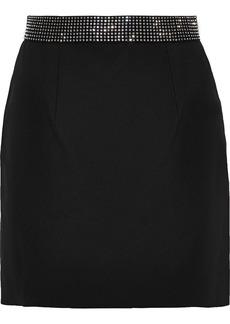Christopher Kane Woman Crystal-embellished Twill Mini Skirt Black