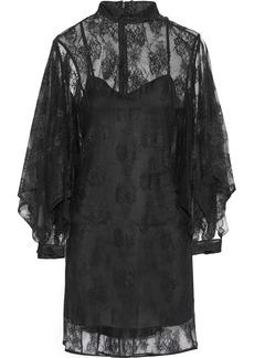 Christopher Kane Woman Cutout Chantilly Lace Turtleneck Mini Dress Black