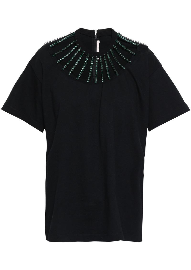 Christopher Kane Woman Cutout Crystal-embellished Cotton-jersey T-shirt Black