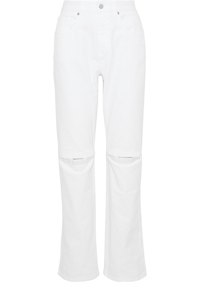 Christopher Kane Woman Cutout High-rise Straight-leg Jeans Off-white