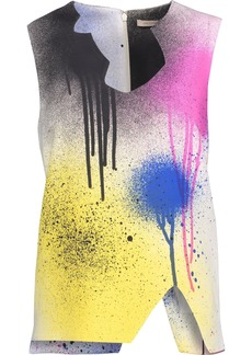 Christopher Kane Woman Cutout Printed Cady Top Multicolor
