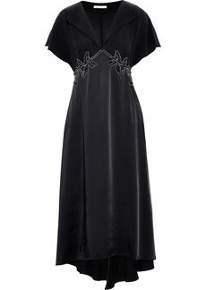 Christopher Kane Woman Embellished Crepe And Satin Midi Dress Black