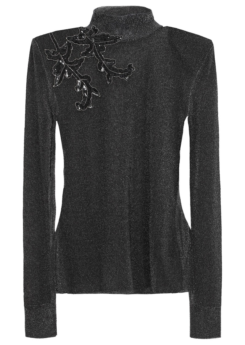 Christopher Kane Woman Embellished Metallic Knitted Top Charcoal