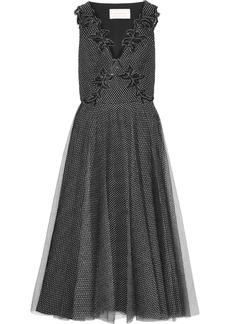 Christopher Kane Woman Embellished Metallic Tulle Midi Dress Black
