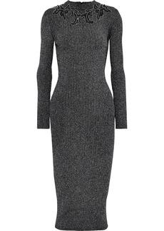 Christopher Kane Woman Embellished Ribbed Lurex Midi Dress Gunmetal