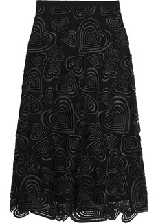 Christopher Kane Woman Embroidered Guipure Lace Midi Skirt Black