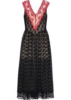 Christopher Kane Woman Gathered Two-tone Lace Maxi Dress Black