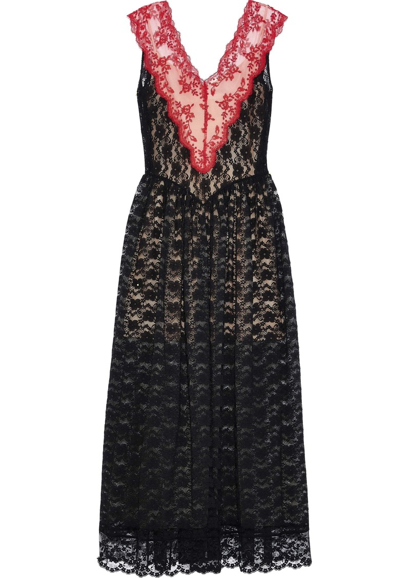 Christopher Kane Woman Gathered Two-tone Lace Maxi Dress Black
