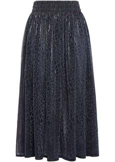 Christopher Kane Woman Iridescent Leopard-print Stretch-jersey Midi Skirt Navy