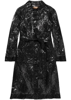 Christopher Kane Woman Lace And Pvc Trench Coat Black