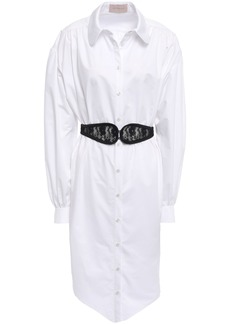 Christopher Kane Woman Lace-embellished Belted Cotton-poplin Shirt Dress White