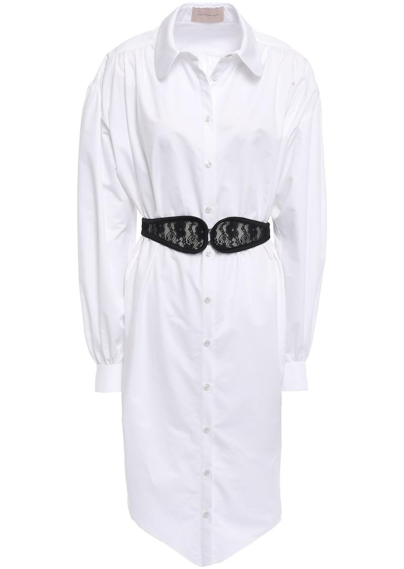 Christopher Kane Woman Lace-embellished Belted Cotton-poplin Shirt Dress White