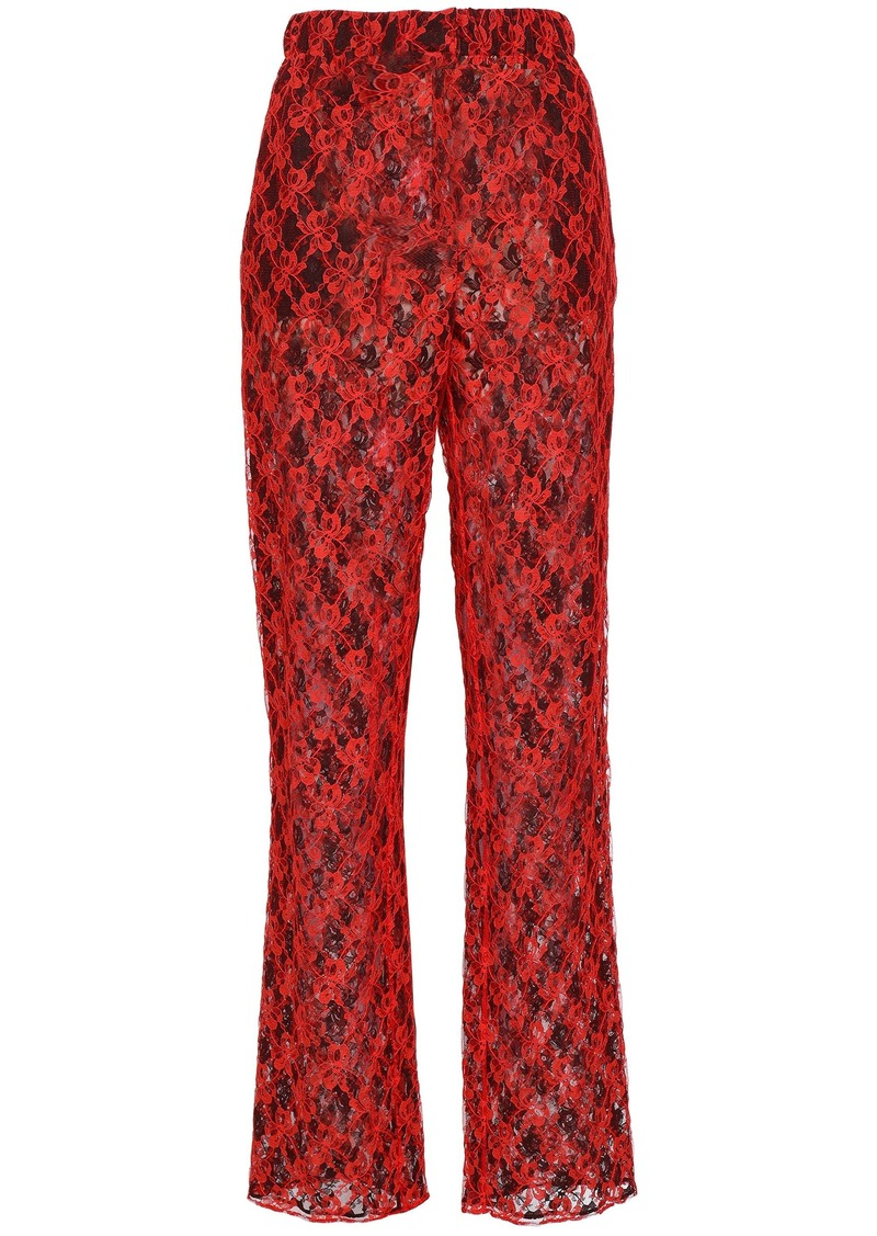 Christopher Kane Woman Lace Straight-leg Pants Tomato Red