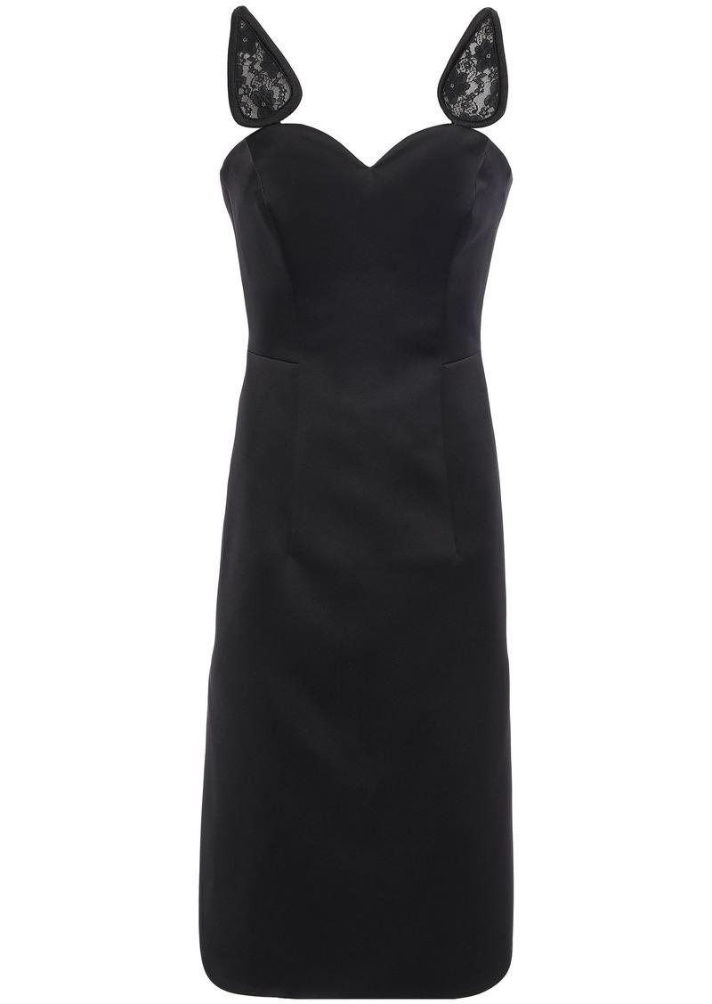 Christopher Kane Woman Lace-trimmed Satin Dress Black