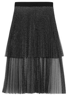 Christopher Kane Woman Layered Pleated Metallic Tulle Midi Skirt Black
