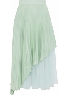 Christopher Kane Woman Layered Pleated Tulle And Washed-silk Midi Skirt Mint