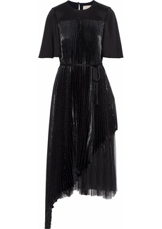 Christopher Kane Woman Layered Pleated Tulle-paneled  Silk-blend Lamé Midi Dress Black