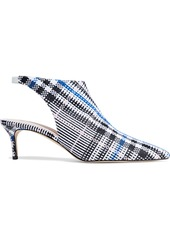 Christopher Kane Woman Leather-trimmed Checked Jacquard Slingback Pumps Multicolor