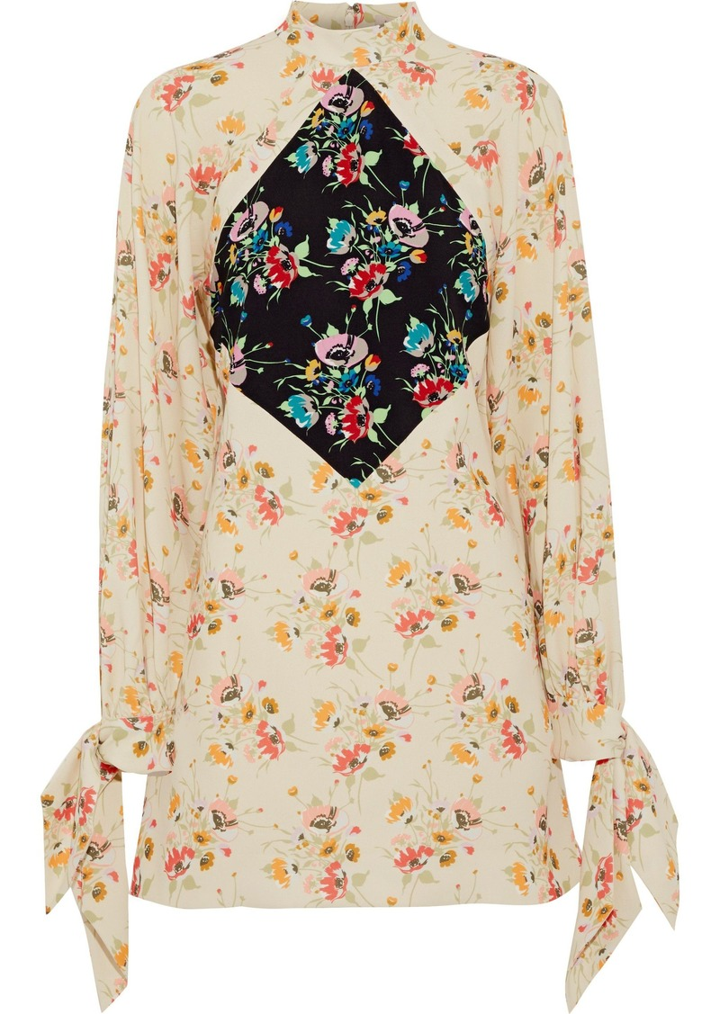 Christopher Kane Woman Paneled Floral-print Crepe Mini Dress Ivory