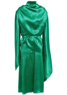 Christopher Kane Woman Open-back Draped Satin-crepe Midi Dress Bright Green