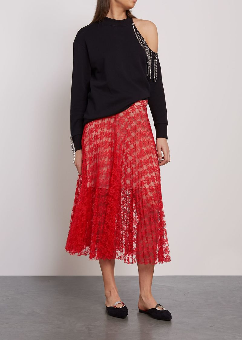 Christopher Kane Woman Pleated Lace Midi Skirt Red