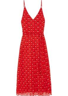 Christopher Kane Woman Pleated Printed Silk-chiffon Midi Dress Red