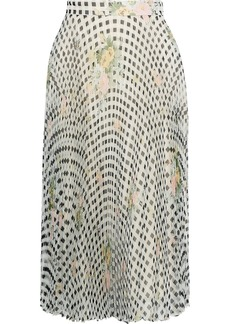 Christopher Kane Woman Pleated Printed Silk-organza Skirt Light Gray