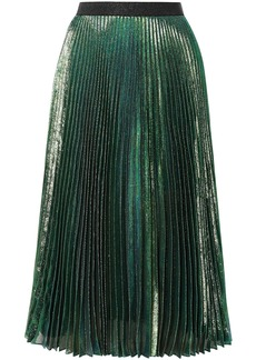 Christopher Kane Woman Pleated Silk-blend Lamé Midi Skirt Forest Green