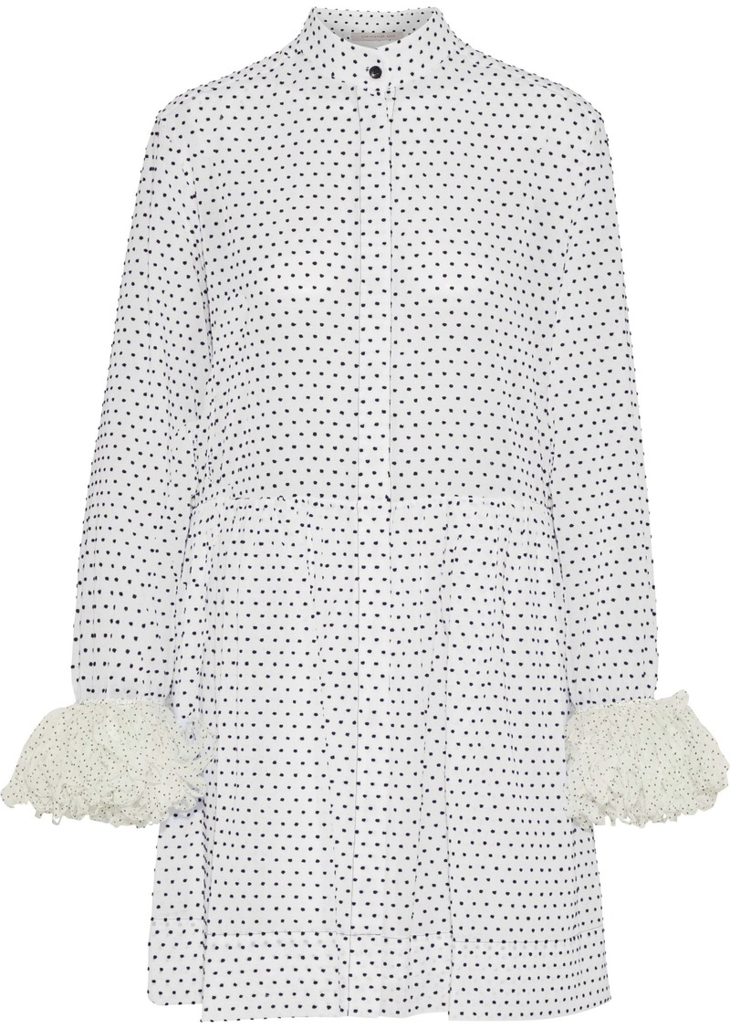 Christopher Kane Woman Polka-dot Voile-trimmed Flocked Cotton-poplin Mini Shirt Dress White
