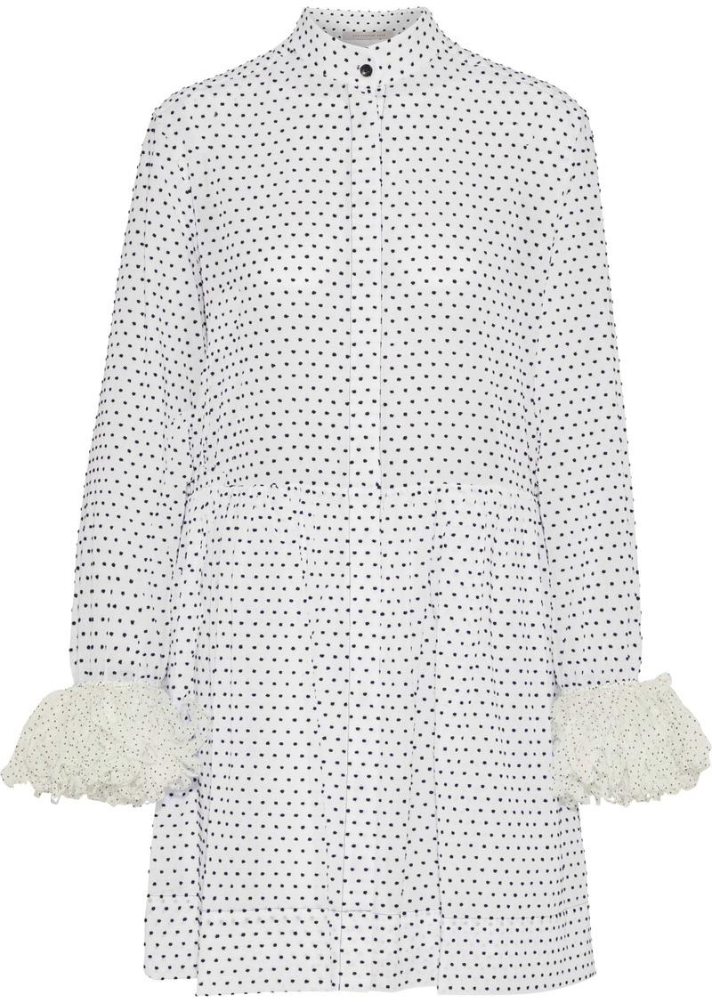 Christopher Kane Woman Polka-dot Voile-trimmed Flocked Cotton-poplin Mini Shirt Dress White