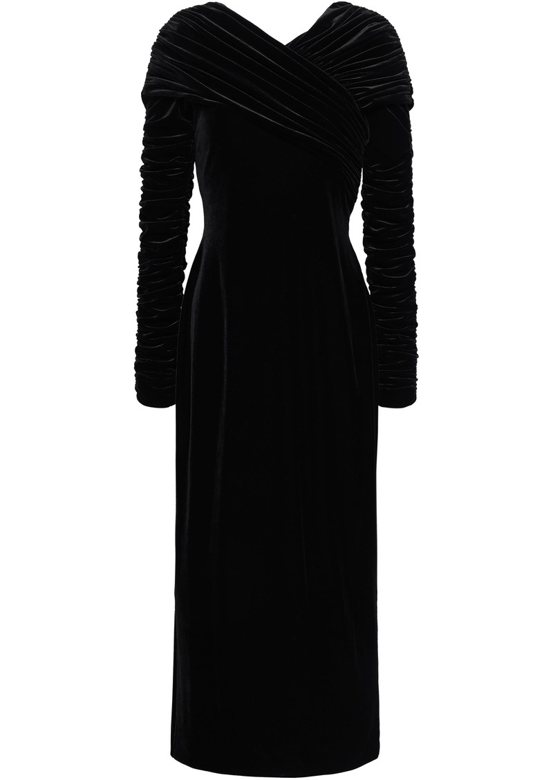Christopher Kane Woman Ruched Velvet Midi Dress Black