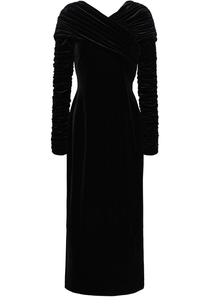 Christopher Kane Woman Ruched Velvet Midi Dress Black