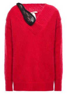 Christopher Kane Woman Split-back Lace-trimmed Mohair-blend Sweater Red